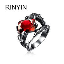 Hot Sale Finger Art Antique Silver Retro Titanium Stainless Steel Ring Punk Biker Jewelry Dragon Claw aRuby Ring