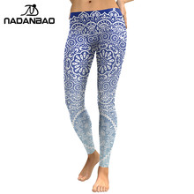 NADANBAO Autumn Women Leggings Fresh Lotus Printing Woman Leggins Aztec Round Ombre Fitness Trousers(China)