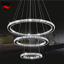 Led Crystal Chandelier light dimmable warm /white/neutral 3 model Cut Crystal LED Pendant With Oval3 Rings can remote control(China)