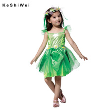 2 Pcs Novelties Green Elf Sprite Dress Leg Avenue Neverland Tinkerbell Garden Fairy Kids Costume Lovely Woodland Fairy Dress(China)