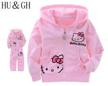 2017 hello kitty costume set girl spring fall jacket child long sleeve hooded pants trousers + cotton suit