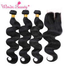 [Buy 3 get 1 gift] Wonder Beauty Hair Brazilian Body Wave Human Hair Weave Bundle deals 3 bundles with Lace closure Middle Part(China)