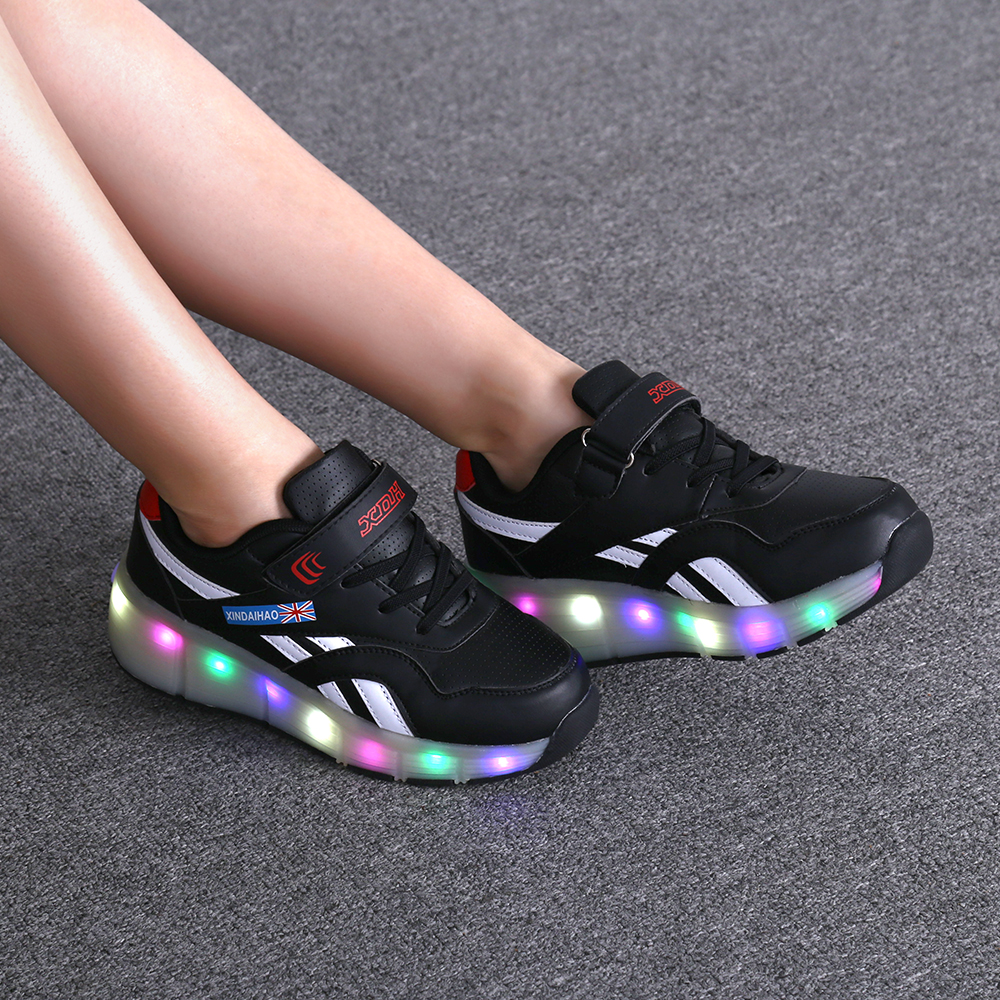 Sneakers Roller Skate Led-Light Casual-Shoe Usb-Charging Heelies One-Single-Wheel Girl