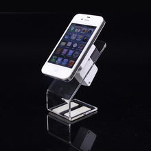 Retail 5pcs Cellphone Security Display Stand Anti-theft Alarm Holder Acrylic Mobile Phone Stand Shelf Showcase for Store Supply(China)