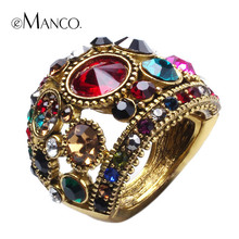 eManco two colors crystal rhinestone rings for women alloy colorful crystal trendy ring accessories finger jewelry bague femme