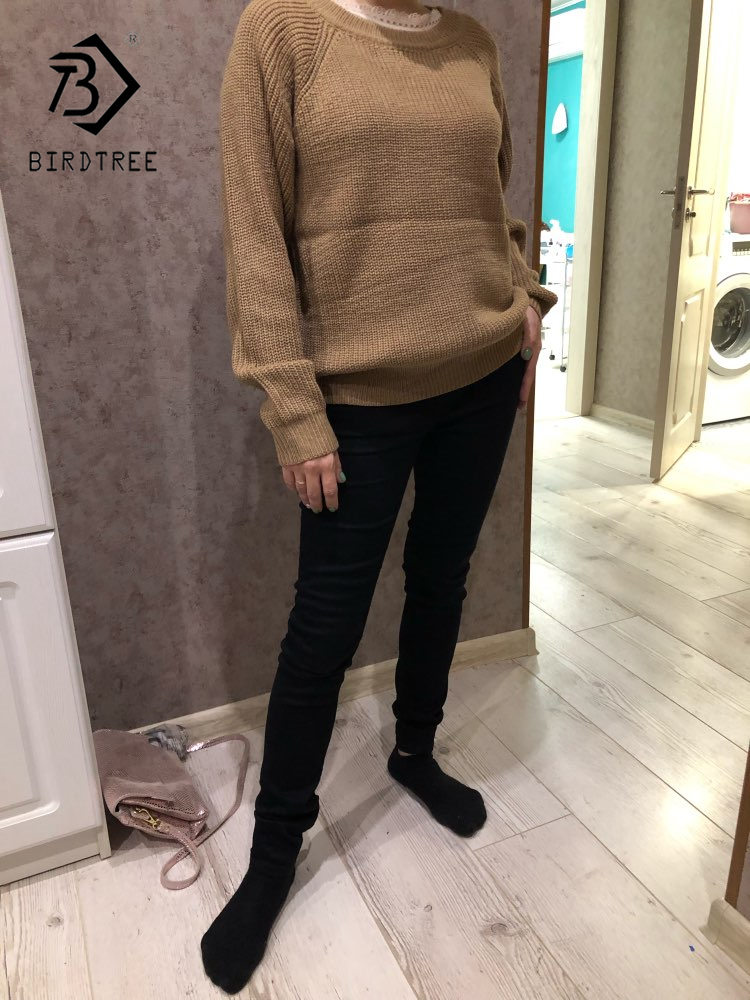 Korean Fashion Ladies Full Sleeve Women Knitting Sweater Solid O-Neck Pullover And Jumper Loose Sweater Hot Sale S809Q 6