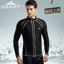 SbartSBART Rashguard Men Top Long Sleeve Lycra Surf Rash Guard Men Jacket Zip UV Rushguard Snorkel Shirt Swim Plus Size