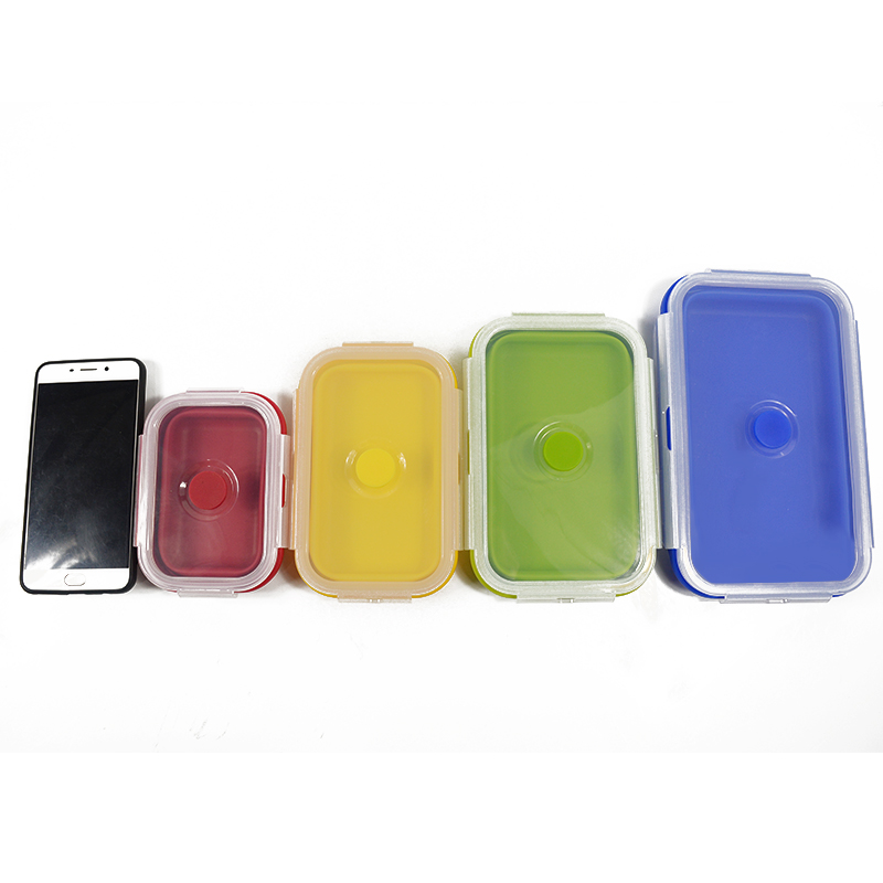 Folding Silicone Lunch Box Food Storage Container Kitchen Microwave Tableware Portable Household Outdoor Food Fruit Organizer 10