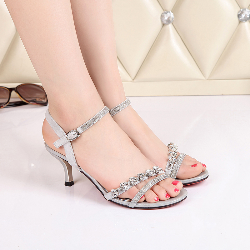 2016 summer new thin high heels open toe pumps with rhinestones glitter buckle toothy slingback sandals women fashion sexy shoes<br>