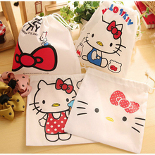 Convenient Hello Kitty 3PCS Cosmetic Pouch small article storage Drawstring Bag Debris Storage Bag Home Decor Gift bag D3(China)
