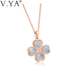 V.Ya Four Leaf Clover Necklaces Good Lucky Grass Choker Jewelry Simple Plant Shamrock Necklace for Birthday Valentine Drop Ship(China)
