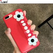 For iPhone 6S 6S Plus  Luxury Sunflower Back Cover Wrist Strap Hard Skin Case For iPhone 7 7 Plus