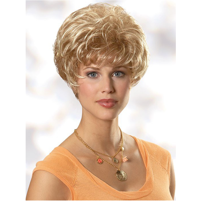 High Quality Charming Salomon Curly Capless Blonde Wigs Synthetic Hair Wigs Short Wigs<br><br>Aliexpress