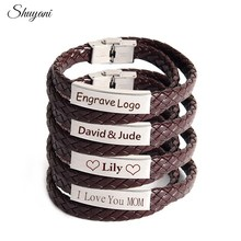 Personalized Engrave Name Logo Bracelet For Men Stainless Steel Two Layer Soft Leather Braided Rope Bracelet Customized Jewelry
