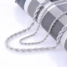 2mm and 4mm Stainless Steel Rope Chain Necklace Statement Swag 316L Stainless Steel Twisted Necklace Chain