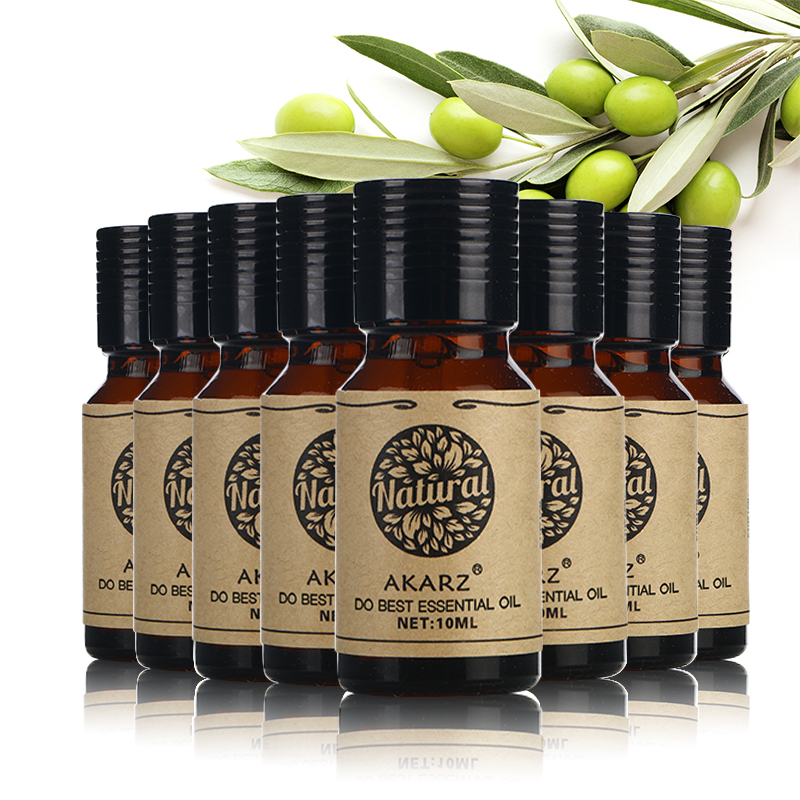 AKARZ Famous brand value meals Jasmine Violet Cinnamon Basil Vetiver Grapefruit Tea Tree Castor essential Oils 10ml*8<br>