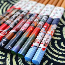 FD3883 new Lucky Cat Chopsticks Japanese Wood Lacquer Chopsticks Gift ~5 Pairs~