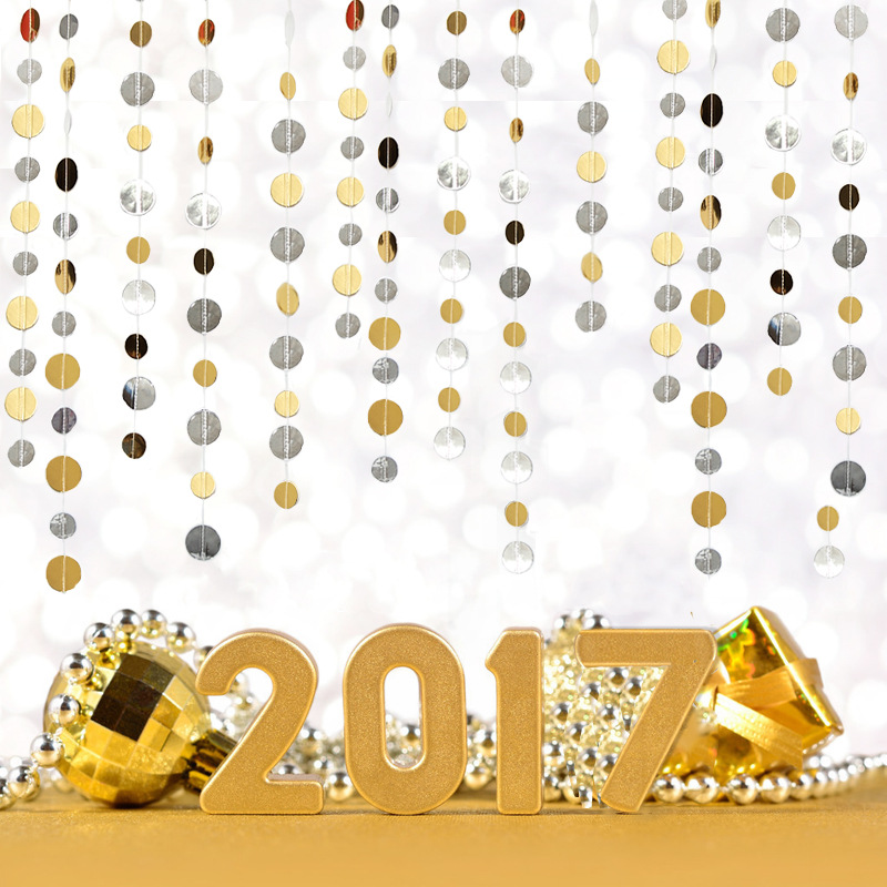 1.5M gold silver ornaments garland Christmas New Year festive party wedding wedding decoration