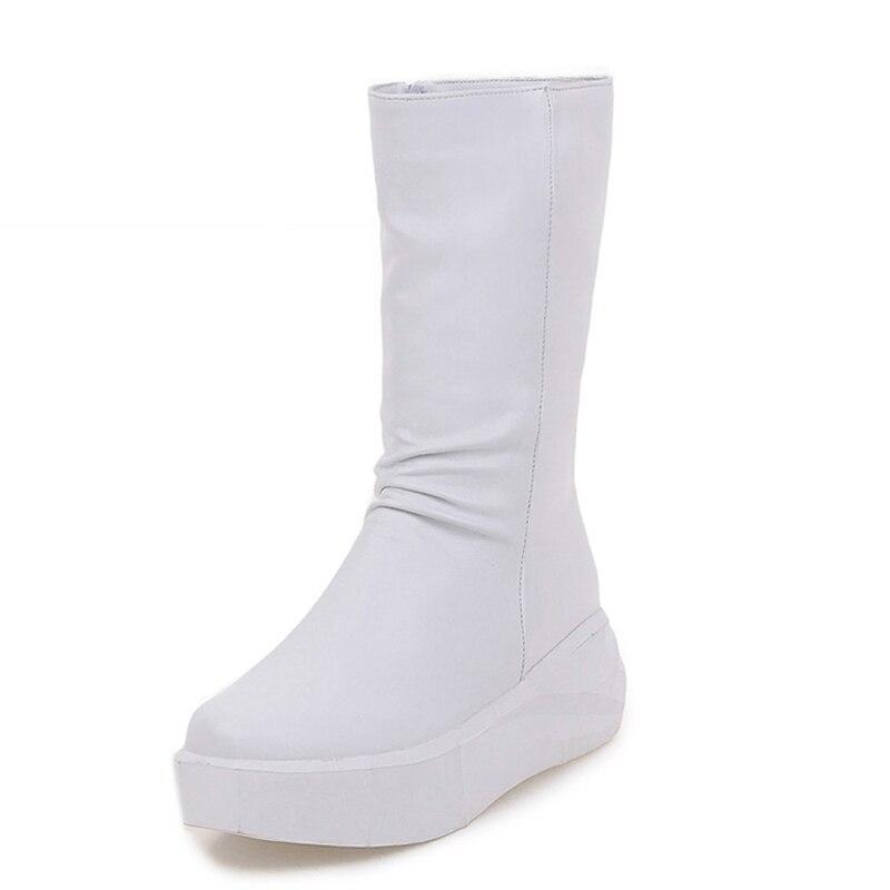 Big Size 34-43 2017 Brand Wedges Platform Women Boots Round Toe Female Footwear Mid Calf Zip Flat Fall Winter Boots<br><br>Aliexpress