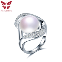HENGSHENG Natural Pearl Zircon Women Rings,Real Freshwater Pearl,White/Black Pearl,Fashion Romantic 925 Silver Jewelry Ring(China)