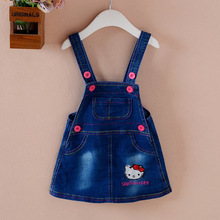 Kids Girls Clothes 2017 Summer Girls Dress Denim Hello Kitty Embroidery Toddler Girl Dresses Cartoon Lovely Suspenders Dress Z07(China)