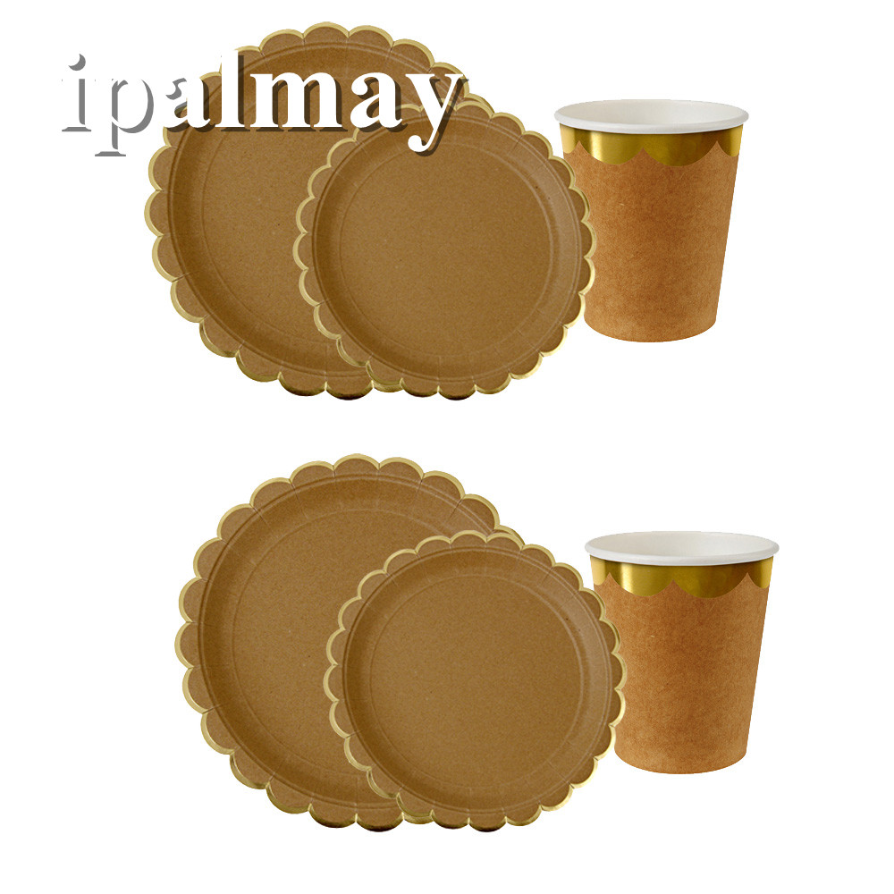 ipalmay Paper Craft Dinnerware set Paper Cake Plates Paper Cups with Gold Edge Unicorn Party Tableware Baby Shower Deocr(China)