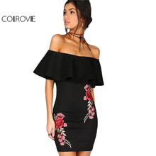 COLROVIE Dress Women Black Sexy Off Shoulder Embroidery Party Dresses 2017 Rose Applique Ruffle Elegant Bodycon Mini Dress(China)