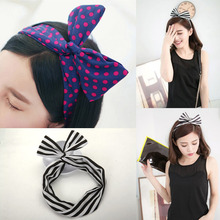1Piece Cute Bunny Ear Dolly Bow Wire Headband Head Scarf Ribbon Head Wrap Hair Accessories women Headwear
