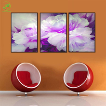 Abstrast 3pcs White Purple Flowers Modular Board Poster Canvas Oil Painting Room Wall Art Paint Canvas Prints Framed Art Decor