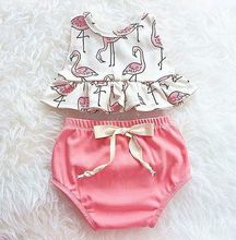 Newborn Baby Girls Clothes Flamingo Sleeveless Tops+Bow Briefs 2PCS Outfits Set 0-18M(China)