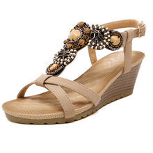 Wedges shoes woman gladiator sandals beading high heels shoes  narrow band woman hasp shoes wedges sandals ethnic zapatos mujer