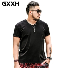 TSHIRT PLUS SIZE MALE 5XL OVERSIZED T SHIRT MEN Solid Color Short Sleeve Cotton V-neck T-shirt Summer Tee White Big 6XL 7XL Tall(China)