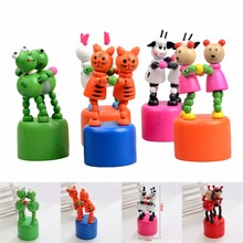 Baby Funny Wooden Toys Developmental Dancing Standing Rocking Animals Toys  Wooden Puppet Toy