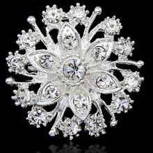 Top Quality AAA Austria Crystal Silver Flower Pin Brooches Wedding Invitation Card Brooch