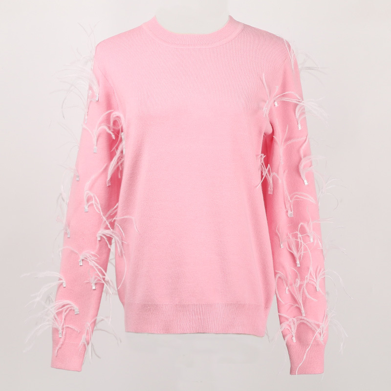 GRUIICEEN long sleeve office sweater pullovers women knitted feather fashion pullovers top GY2018380