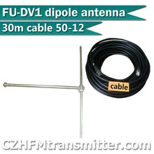 FMUSER FU-DV1 1bay Fm dipole antenna High Gain Outdoor antenna+ 30meters 1/2  50-12 CABLE