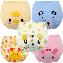 5Pcs Baby Training Pants Cotton Reusable Baby Diapers Waterproof Cloth Nappies Washable Diapers Bamboo Learning Pants(China)