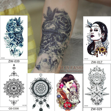 hot sale tattoo sticker waterproof female beauty simulation pirate skull retro flower owl wolf totem Buddha arm trade body paint