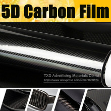 Super quality Ultra Gloss 5D Carbon Fiber Vinyl Wrap 4D Texture Super Glossy 5D Carbon Film With Size: 10/20/30/40/50/60x152cm