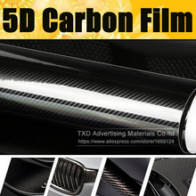 Super quality Ultra Gloss 5D Carbon Fiber Vinyl Wrap 4D Texture Super Glossy 5D Carbon Film With Size: 10/20/30/40/50/60x152cm(China)