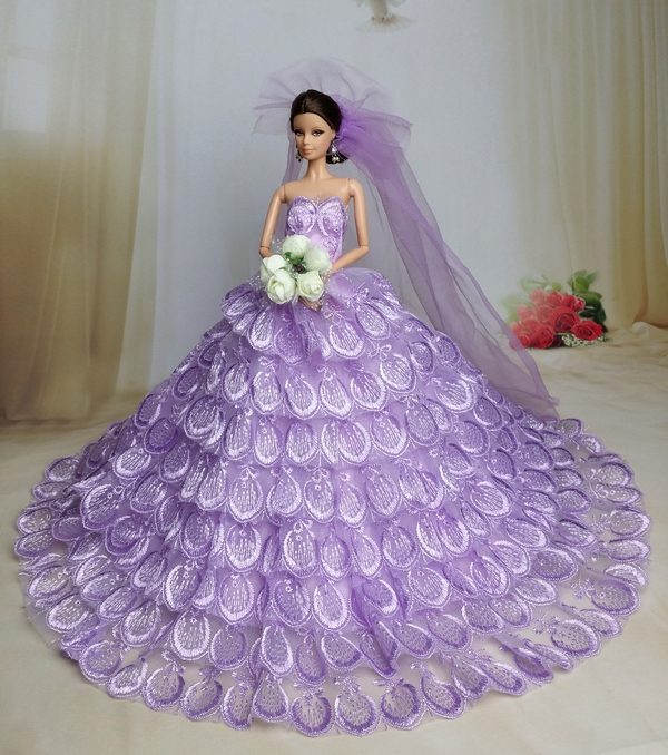 Cute Barbie Doll Clothing item Purple /& Silver Princess Gown Dress