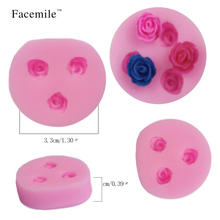 Facemile 3D mini Rose Flower DIY Silicone soap Gift bakeware sets fondant cake molds chocolate mould 50-67(China)