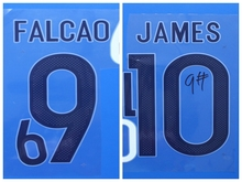 2017 Colombia FALCAO 9 JAMES 10 custom football number font print ,stamping Soccer patches badges