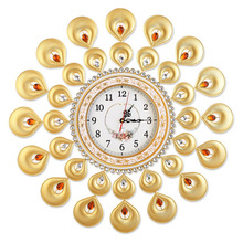 Indian style metal quartz clock/ The sitting room bedroom mute wall clock/ Creativity simple wrought iron wall clock
