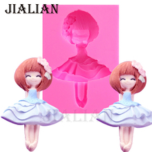 Dancing Lovely Girl Silicone Mold Chocolate Baking Fondant Cake Decorating Tools  soap mold cake pop recipe T0888