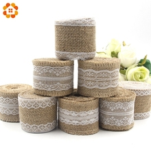 2M/Roll 5CM DIY Ornament Burlap Jute Burlap Rolls Hessian Ribbon With Lace Rustic Vintage For Wedding Party Decoration Supplies