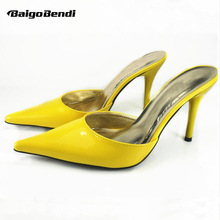 Free Shipping US5-10 Candy Patent Leather pointy toe Mules Sandal OL Club fashion womens shoes(China)