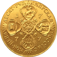 100% 24-K Gold plated 1777 russia 10 Roubles gold Coin copy