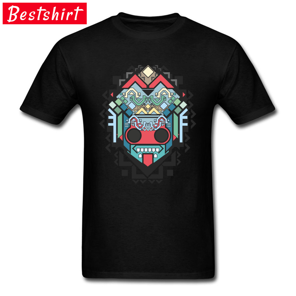 Men Retro Tops & Tees O-Neck Summer 100% Cotton Fabric T-shirts Printed On Abstract geometric colored inca art Clothing Shirt Abstract geometric colored inca art black