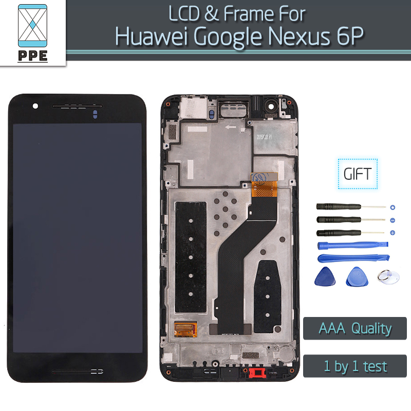 Black LCD Screen Huawei Google Nexus 6P original Display Touch Digitizer Assembly Frame gift tools  -  Phone Parts Expert Store store